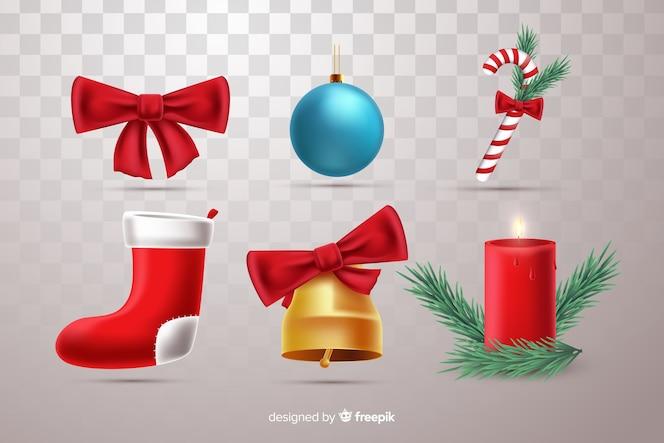 Realistyczna kolekcja pięknych świątecznych elementów