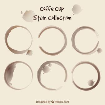 Realistyczna kolekcja plam z filiżanki kawy