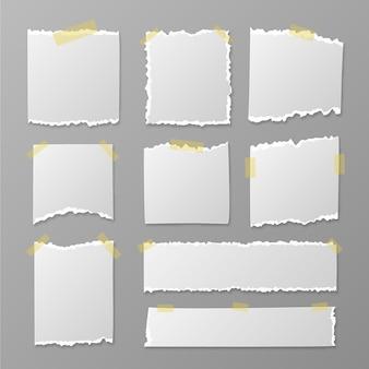 Realistyczna kolekcja podartych papierów
