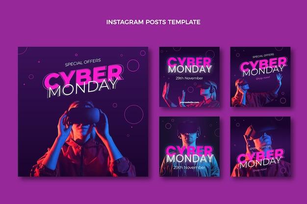 Realistyczna kolekcja postów na instagramie cyber poniedziałek