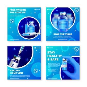 Realistyczna kolekcja postów na instagramie szczepionek