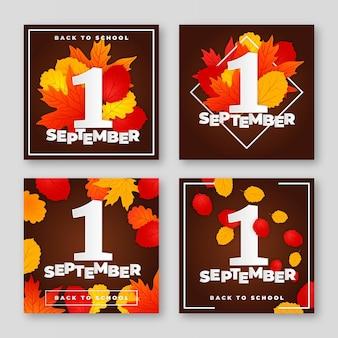 Realistyczna kolekcja postów na instagramie z 1 września
