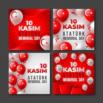 Realistyczna kolekcja postów na instagramie z okazji dnia pamięci ataturka