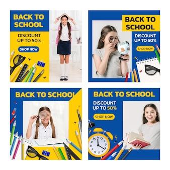 Realistyczna kolekcja postów na instagramie z powrotem do szkoły ze zdjęciem