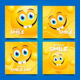 Realistyczna kolekcja postów na światowym dniu uśmiechu na instagramie