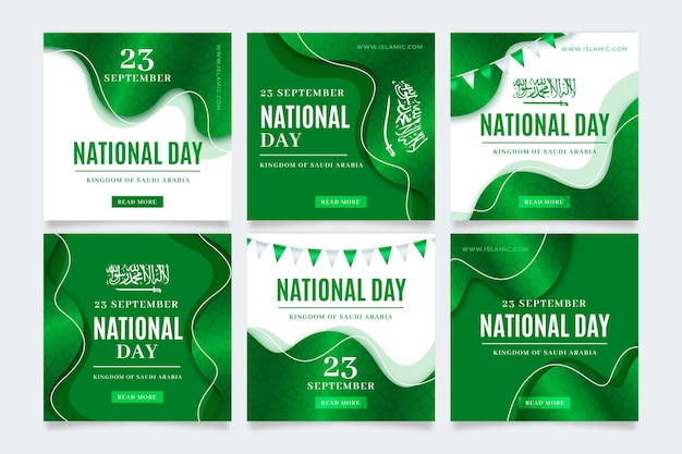 Realistyczna kolekcja postów z okazji dnia narodowego arabii saudyjskiej