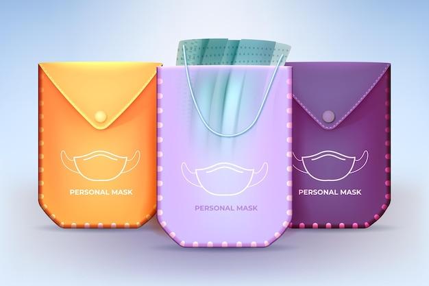 Realistyczna kolekcja skrzynek do przechowywania maski na twarz