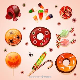 Realistyczna kolekcja smacznych słodyczy halloween