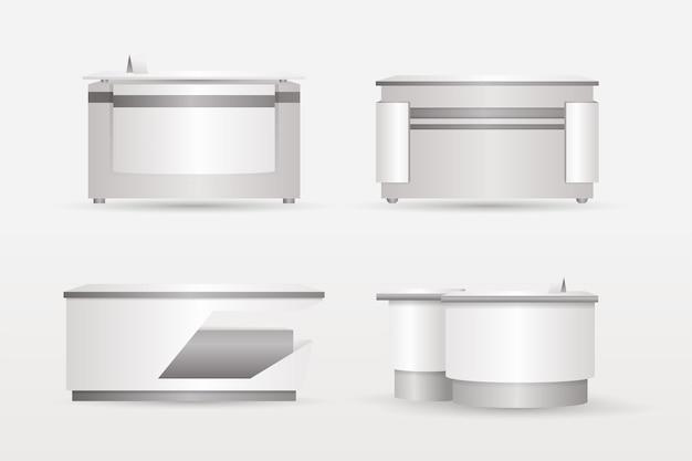 Realistyczna kolekcja stołów recepcyjnych