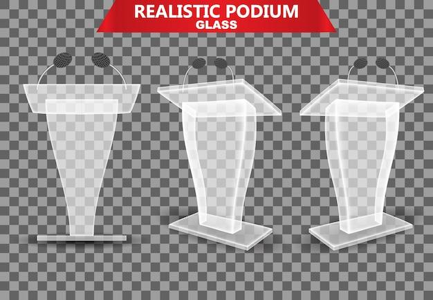 Realistyczna kolekcja szklanego podium