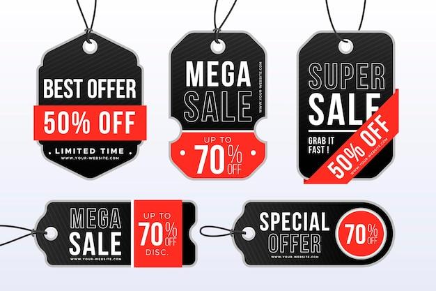 Realistyczna kolekcja tagów sprzedaży