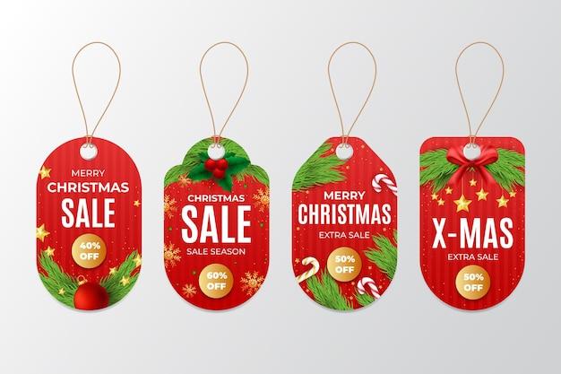 Realistyczna kolekcja tagów świątecznej sprzedaży