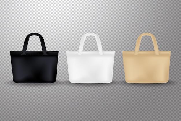 Realistyczna kolekcja toreb z tkaniny