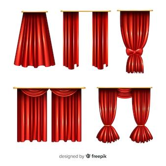 Realistyczna kolekcja zamkniętych i otwartych zasłon w kolorze czerwonym