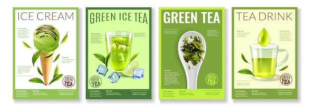 Realistyczna kolekcja zielonej herbaty