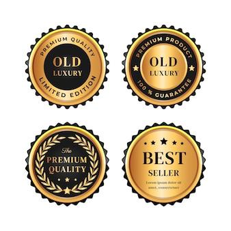 Realistyczna kolekcja złotych luksusowych odznak