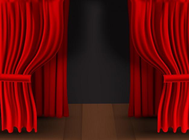 Realistyczna kolorowa czerwona aksamitna zasłona składana na przezroczystym tle. opcja kurtyny w domu w kinie.