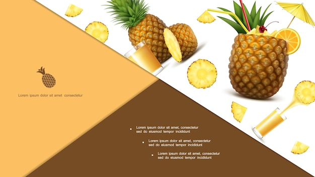 Realistyczna kolorowa kompozycja ananasa z szklankami plasterków owoców tropikalnych świeżego soku i koktajlu ananasowego
