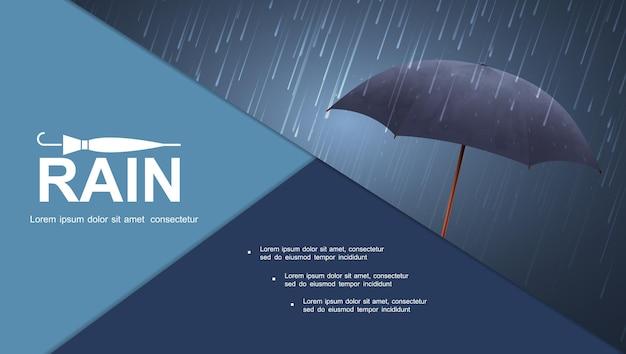 Realistyczna kolorowa kompozycja burzy wodnej z niebieskim parasolem pod ilustracją ulewnego deszczu