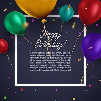 Realistyczna kolorowa wiązka urodzinowi balony lata dla przyjęcia i świętowań z przestrzenią dla wiadomości odizolowywającej w białym tle.