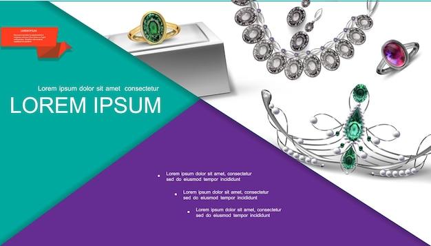 Realistyczna kompozycja akcesoriów jubilerskich ze srebrnym naszyjnikiem. złoty pierścionek z diademem ze szmaragdowym rubinem i perłą