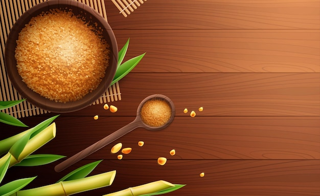 Realistyczna kompozycja cukru trzcinowego z łyżeczką i miską cukru oraz miejscem na tekst