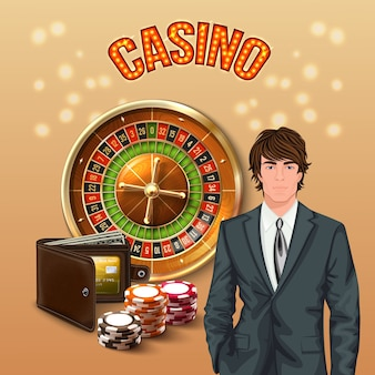 Realistyczna kompozycja człowieka w kasynie z dużym pomarańczowym świecącym nagłówkiem kasyna i szczęśliwym graczem