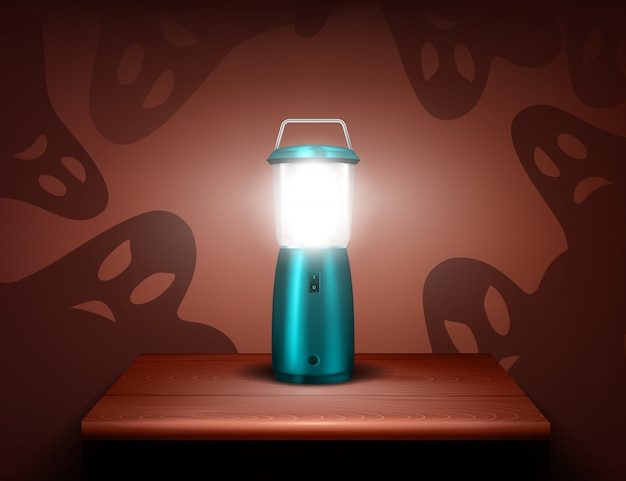 Realistyczna kompozycja duchów niebieskiej latarki