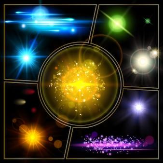 Realistyczna kompozycja efektów świetlnych z rozświetlonymi plamami jasnych gwiazd, błyszczącymi, błyszczącymi i słonecznymi efektami