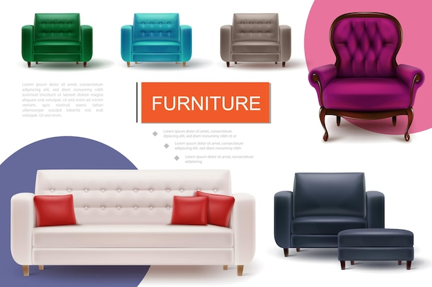 Realistyczna kompozycja elementów mebli z miękkimi kolorowymi fotelami i sofą z poduszkami