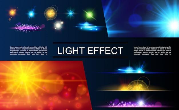 Realistyczna kompozycja elementów świetlnych z jasnymi flarami, błyszczącymi plamami, efektami światła i światła