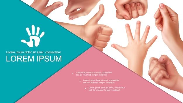Realistyczna kompozycja gestów dłoni z dłonią dziecka i różnymi znakami kobiecej dłoni