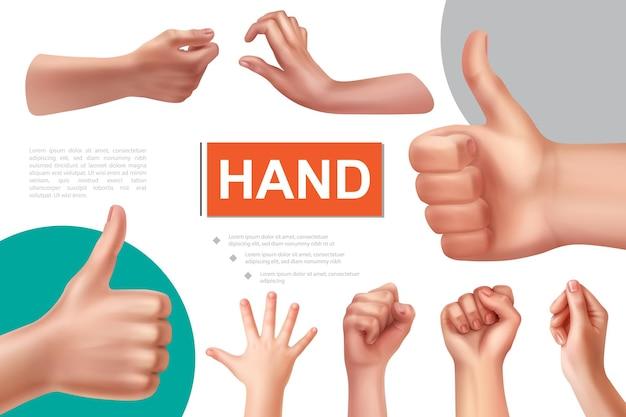 Realistyczna kompozycja gestów dłoni z kobiecymi pięściami w porządku, znak, że bierze i trzyma coś za ręce