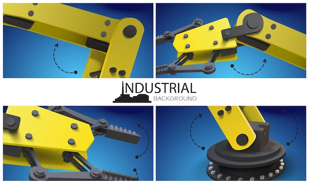 Realistyczna kompozycja inteligentnego przemysłu z żółtymi mechanicznymi przemysłowymi ramionami robotów i manipulatorami