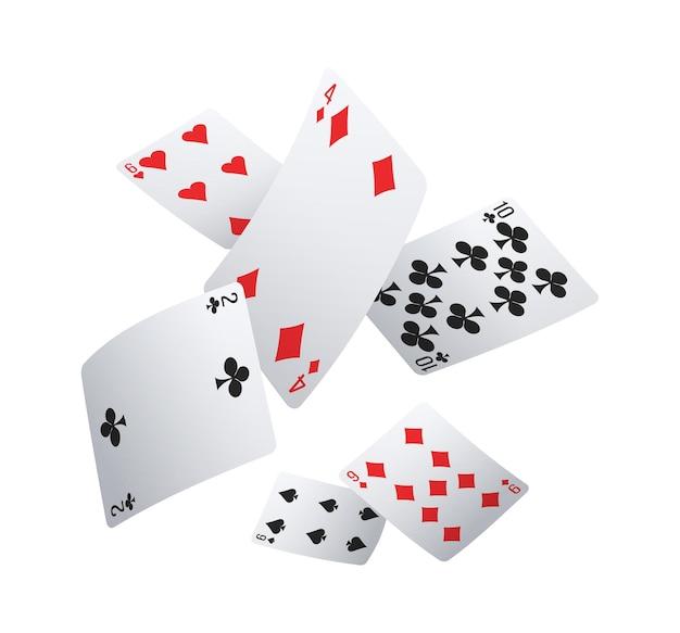 Realistyczna kompozycja klubu pokerowego ze spadającymi kartami