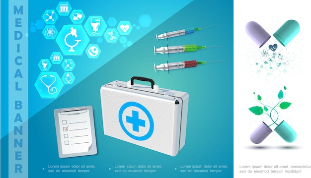 Realistyczna kompozycja kolorowa medycyny ze strzykawkami notatnika złamane pudełko medyczne kapsułek i ikony w sześciokątach
