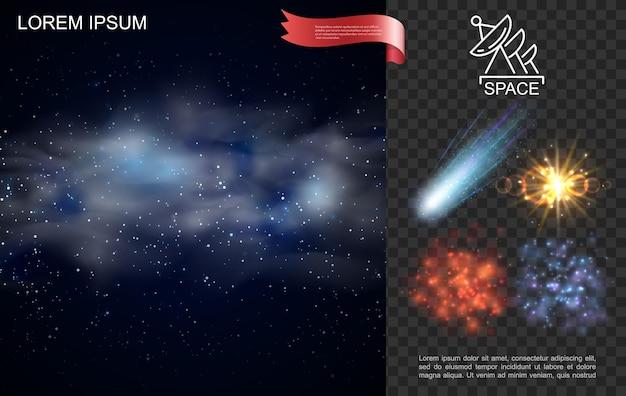 Realistyczna kompozycja kosmosu z gwiazdami, niebieską mgławicą spadającą kometą, blaskiem i efektami słonecznymi