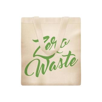 Realistyczna kompozycja kuchni ekologicznej zero waste z odosobnioną ilustracją płóciennej torby na zakupy
