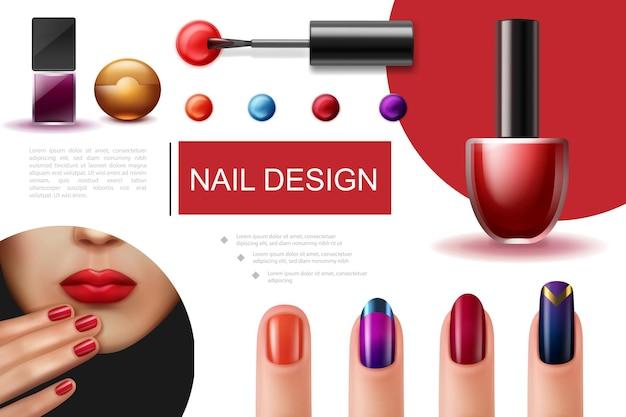 Realistyczna kompozycja lakieru do paznokci z kolorowymi buteleczkami pędzla i kobiecymi palcami z pięknym manicure