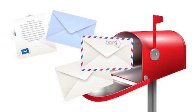 Realistyczna kompozycja listów do skrzynek pocztowych z klasyczną skrzynką pocztową i papierowymi kopertami na listy