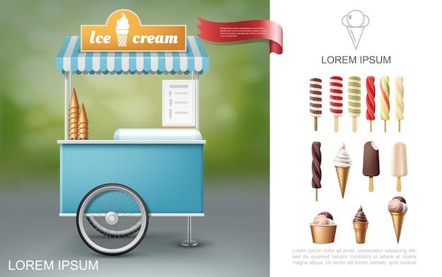 Realistyczna kompozycja lodów z wózkiem z jedzeniem ulicznym i lodami lizakowymi o smaku waniliowej czekolady i owoców