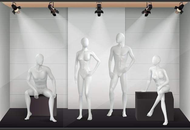 Realistyczna kompozycja manekinów z widokiem na ekspozycję sklepową z lekkim sprzętem i przeszklonymi modelami ludzkich ciał