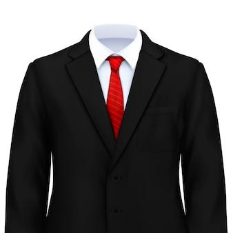 Realistyczna kompozycja męskiego garnituru z eleganckim kostiumem z białym krawatem i marynarką