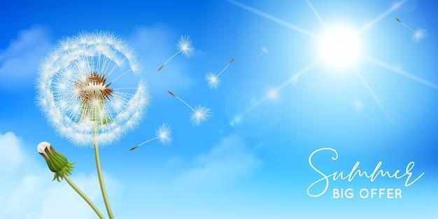 Realistyczna kompozycja mniszka lekarskiego ze słońcem w tle nieba i kwiatami