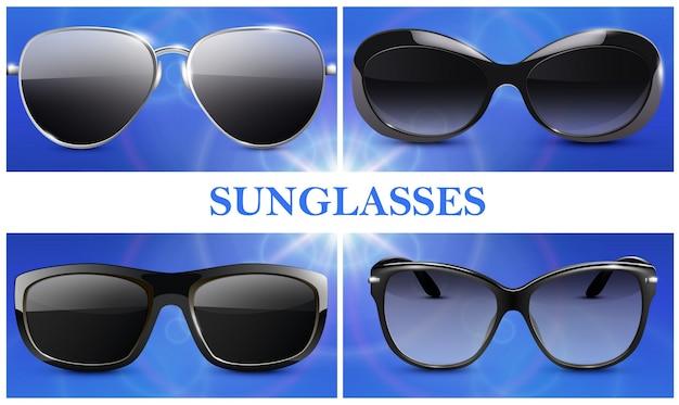 Realistyczna kompozycja modnych okularów przeciwsłonecznych z nowoczesnymi okularami z izolowanymi plastikowymi i metalowymi oprawkami