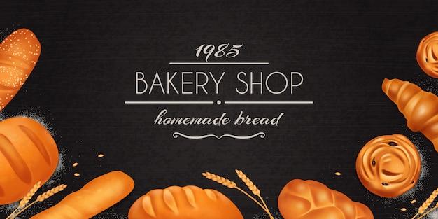 Realistyczna kompozycja pieczywa chlebowego z opisem sklepu piekarni domowej roboty i zestawem chleba