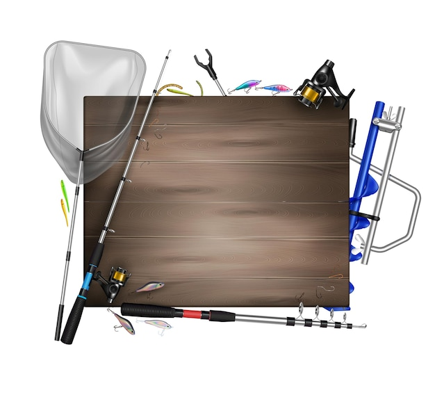 Realistyczna kompozycja ramy wędkarskiej z drewnianym blatem otoczonym zdjęciami wędkarskiego sprzętu z ilustracją wędek