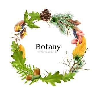 Realistyczna kompozycja ramy wieniec lasu botanicznego