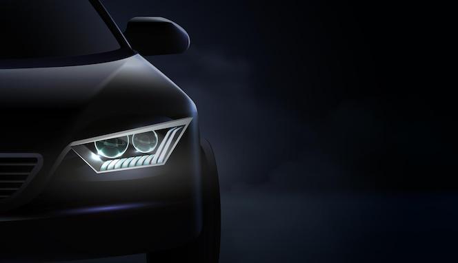 Realistyczna kompozycja reflektorów samochodowych i reflektory z zielonym i fioletowym podświetleniem