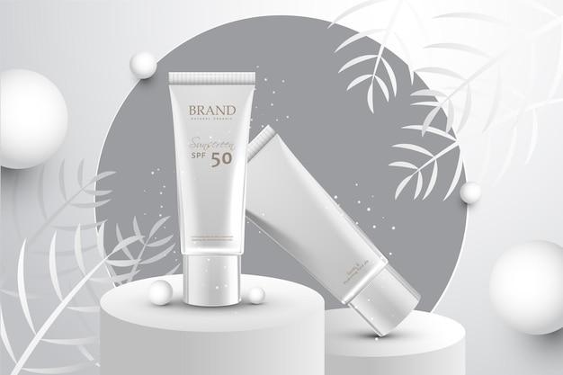 Realistyczna kompozycja reklamująca organiczny produkt kosmetyczny